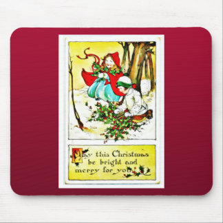Christmas with two girls under the tree collecting mouse pad