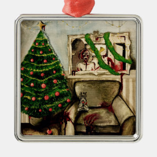 Christmas with zombies decoration metal ornament