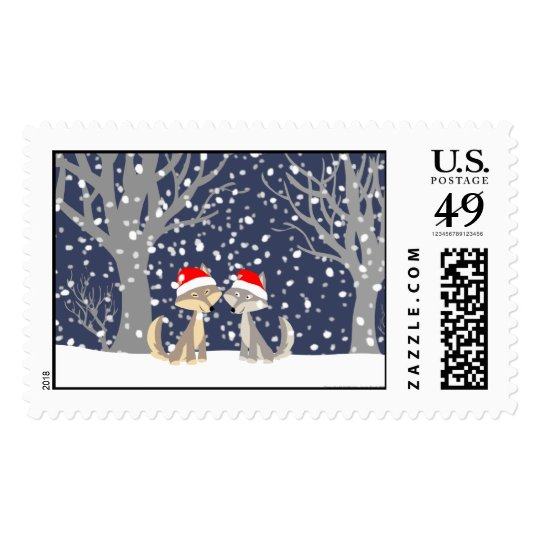 Christmas wolves stamps