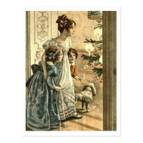 Christmas wonder, mother with daughters, vintage postcard