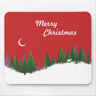 Christmas Woods Scene Mouse Pad