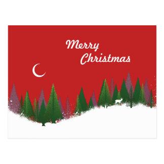 Christmas Woods Scene Postcard