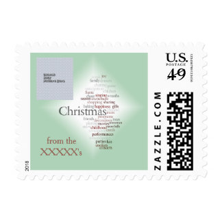 Christmas Word Art Photo & Text Template Postage