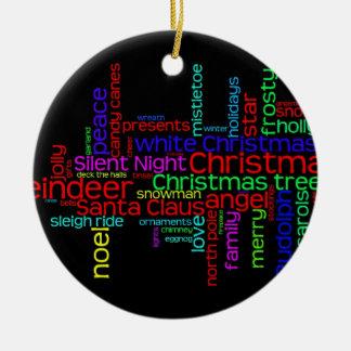 Christmas Word Cloud Ceramic Ornament