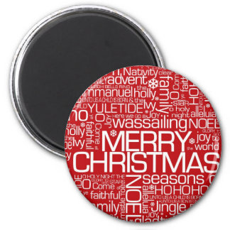 Christmas Word Collage 2 Inch Round Magnet