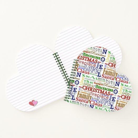 Christmas WordArt™ (Heart-Shaped) Spiral Notebook