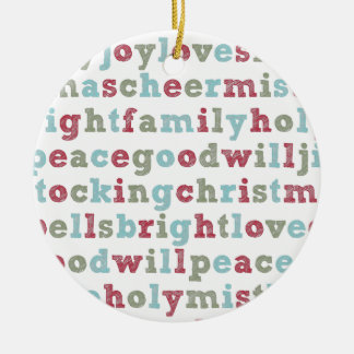 Christmas Words Holiday Ornament