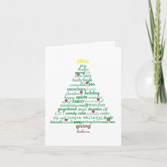 Christmas Words Tree 4x6 Folded Card Zazzlecom