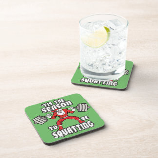 Christmas Workout Humor - Santa Claus Squat Drink Coaster