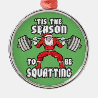 Christmas Workout Humor - Santa Claus Squat Metal Ornament