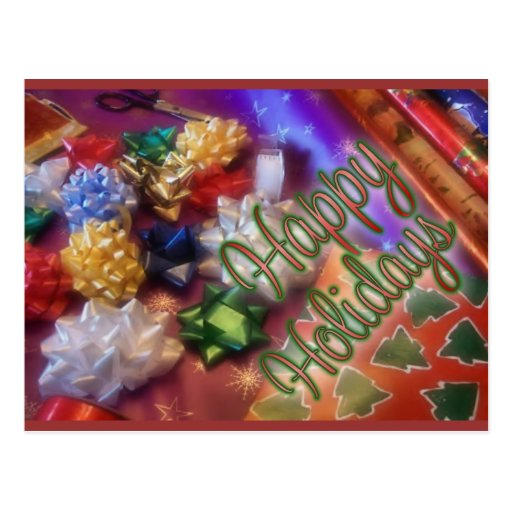 Christmas wrapping paper postcard