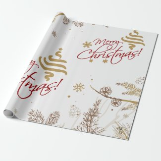 Christmas Wrapping Paper   Red Gold Nature Design