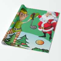 Christmas Wrapping Paper Santa, Golf