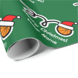 Christmas wrapping paper | Santa hat basketball