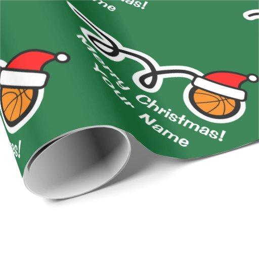 Christmas wrapping paper Santa hat basketball
