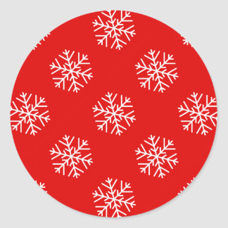 Christmas Wrapping Paper Snowflake Round Stickers