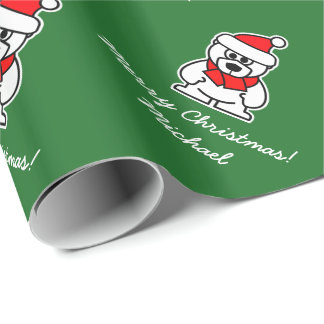 Christmas wrapping paper with cute Santa bear