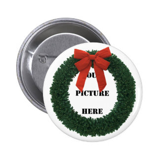 CHRISTMAS WREATH 1 ~~ 2 INCH ROUND BUTTON