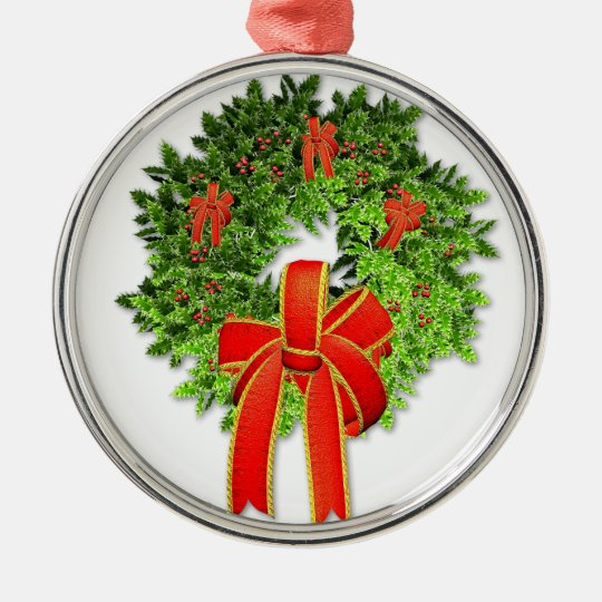 Christmas Wreath 1 Metal Ornament