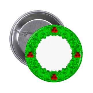 CHRISTMAS WREATH 2 ~ 2 INCH ROUND BUTTON