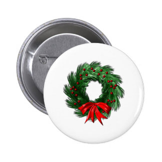 Christmas  Wreath 2 Inch Round Button