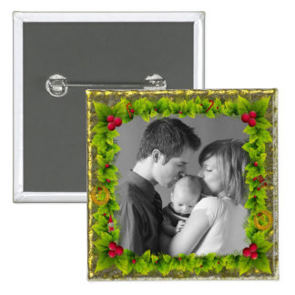 Christmas Wreath 2 Inch Square Button