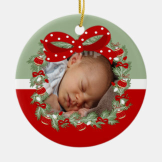 Christmas Wreath (2 sided) Personalized Ceramic Ornament