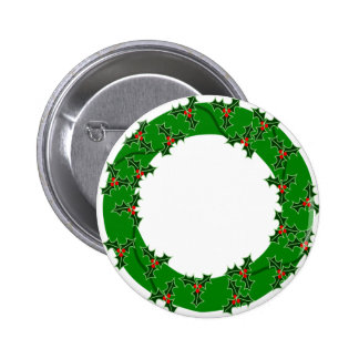 CHRISTMAS WREATH 3b in lighter green 2 Inch Round Button