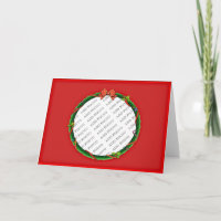 Christmas Wreath Add Your Photo & Red Background Holiday Card