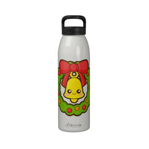 Christmas Wreath and Bell Reusable Water Bottles