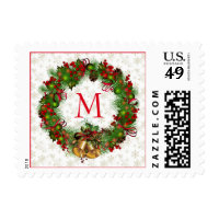 Christmas wreath and bells Postage