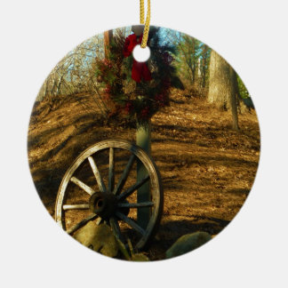 Christmas Wreath and Wagon wheel Ceramic Ornament