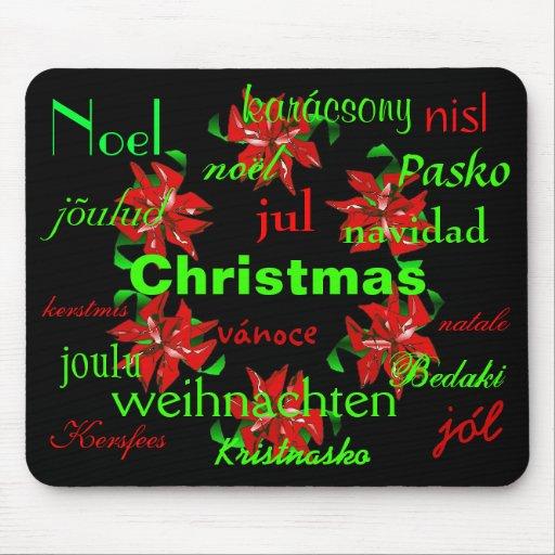 """Christmas Wreath Around The World"" Mousepad Mouse Pad"