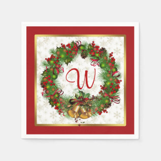 Christmas wreath, bells, holly Monogram Paper Napkin at Zazzle