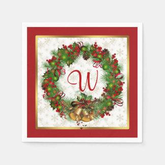 Christmas wreath, bells, holly Monogram Paper Napkin