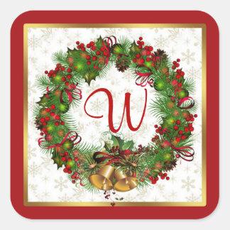 Christmas wreath, bells, holly Monogram Square Sticker