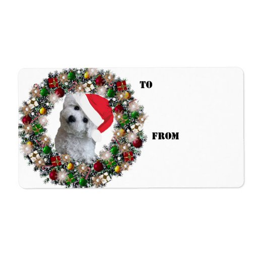 Christmas Wreath Bichon Frise Gift Labels Personalized Shipping Label