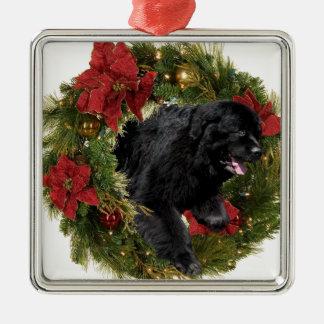 Christmas Wreath Black Newf Metal Ornament