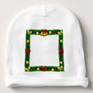 Christmas Wreath Border Frame Baby Beanie
