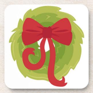 Christmas wreath bow coaster