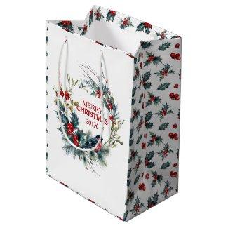 Christmas wreath Bullfinch & Christmas holly