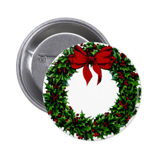 CHRISTMAS WREATH! 2 INCH ROUND BUTTON