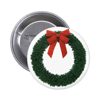 CHRISTMAS WREATH ~ 2 INCH ROUND BUTTON