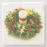 Christmas Wreath Candle Ring Stone Beverage Coaster