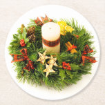 Christmas Wreath Candle Ring Round Paper Coaster