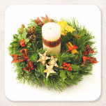 Christmas Wreath Candle Ring Square Paper Coaster