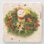 Christmas Wreath Candle Ring Stone Coaster