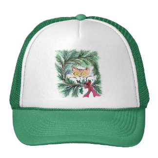 Christmas Wreath Cat, Sumi-e Trucker Hat