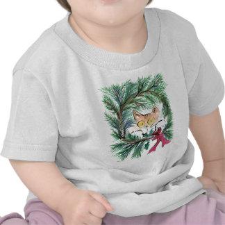 Christmas Wreath Cat, Sumi-e T-shirt