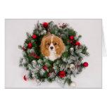 Christmas Wreath Cavalier King Charles Card